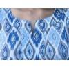 Top caftan TAJ graphique bleu et gris