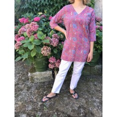 Top tunique caftan RANI fleuri rouge